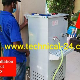 Cooling water tank with chiller system heat exchanger with pumps, control panel and filters