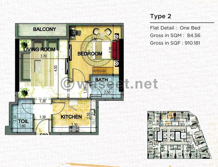 تملك شقة 1223 قدم في النهدة