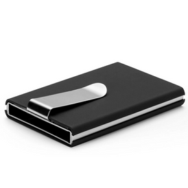 Leather-wrapped metal card holder