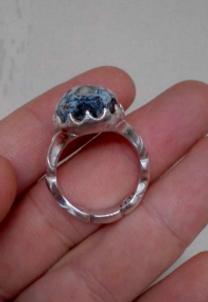 خاتم رائع فضة 925 صياغة ثقيلة وحجر طبيعي مميز