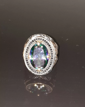 Italian silver ring 923 spectrum stone