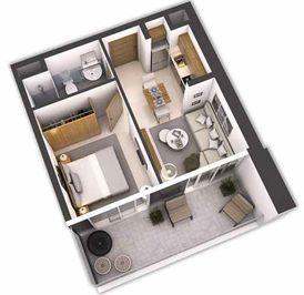 شقة غرفة وصالة على بعد 2.5 كم من برج خليفة
