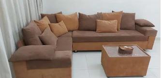 طقم أريكة على شكل حرف L مع طاولة تي 6