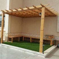 مظلات وجلسات سواتر خشبية