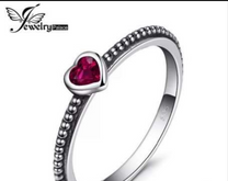 Sterling Silver Rings Endless Love Heart Red Ruby Murano Glass Engagement Ring