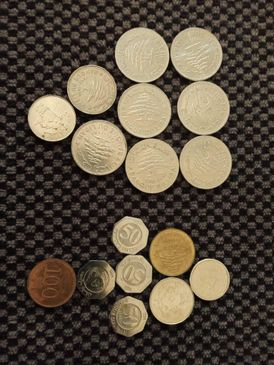Antique: Old Lebanese currency banknotes &coins;