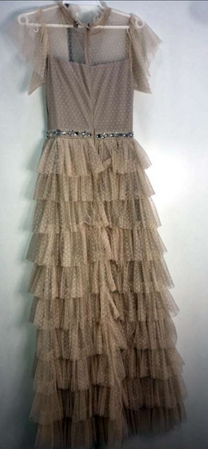 Beige layered mesh dress with silver embellishments fits S/M