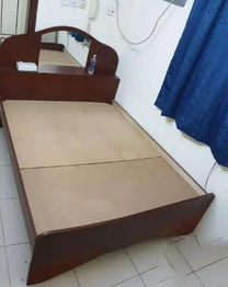 Double bed with attached mirror and head table for sale - Stong wood