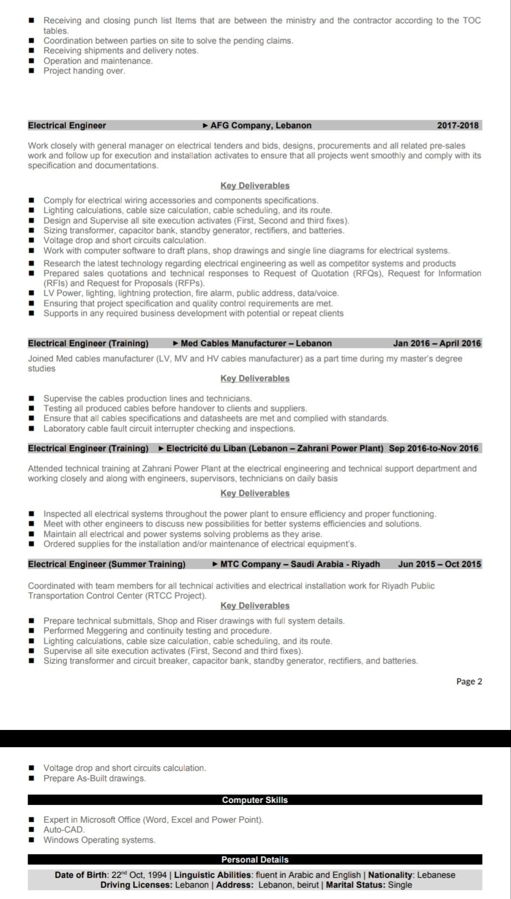 Electrical and Power Engineer looking for a better job