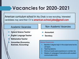 Job Vacancies for 2020-2021
