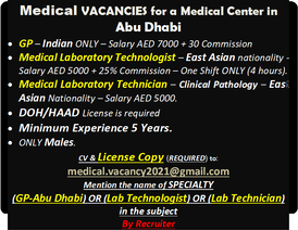 Medical jobs in a medical center