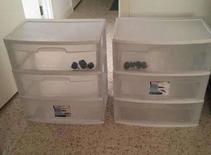 Plastic 3 Drawer storage with castor wheels