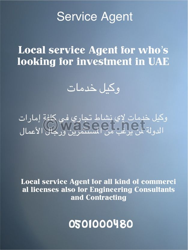 وكيل خدمات لجميع الانشطة التجارية داخل الدولة