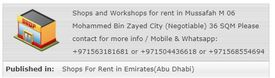 Shops For Rent in Mussafah and in Mohammed Bin Zay...