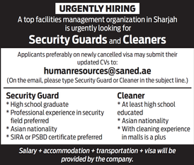Urgent: Security Guards and Cleaners