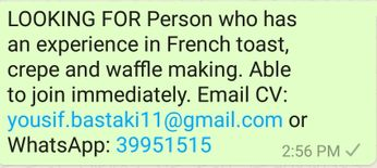 LOOKING FOR Person who has an experience in French toast
