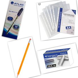 Sheet protector 50micron + Pencil + Atlas ball pen