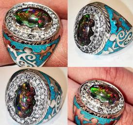 diomound silver ring 925