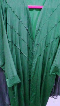 green abaya with scarf