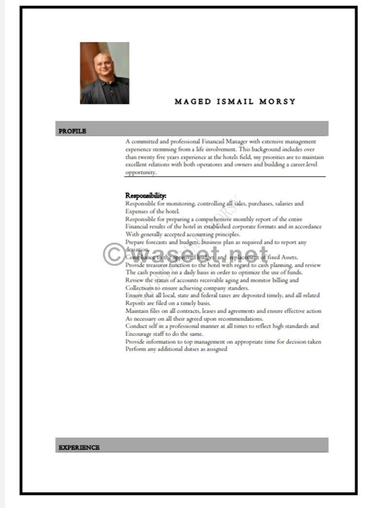 مدير مالي متميز خبرة دولية فوق 30 عاما في الفنادق ٥ نجوم