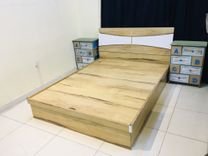 Queen bed with mattress and side table sale