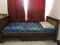 Wooden single bed with mattress or without good condition