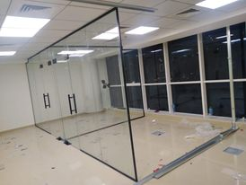 we make gypsum ceiling partition panting electric glass door partition work